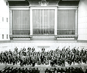 Photograph of Erich Leinsdorf and the BSO at Symphony Hall, 1963.  Photograph by Fay Foto