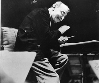 Koussevitzky conducts rehearsal with the Boston Symphony Orchestra in 1938