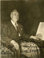 Photographic print of an oil painting of Serge Koussevitzky, inscribed by Koussevitzky to BSO Orchestra Librarian Leslie Rogers, 1944. Photograph by Boris Chaliapin, courtesy BSO Archives