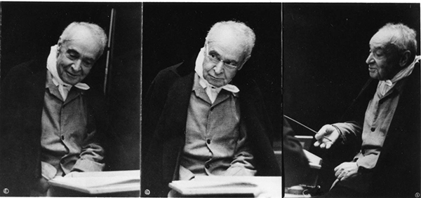 Series of photographs of Serge Koussevitzky conducting a rehearsal, ca. 1940. Photographer unknown, courtesy BSO Archives